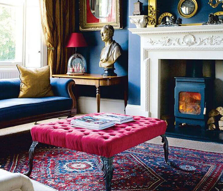 Colourful Sitting Room with fireplace