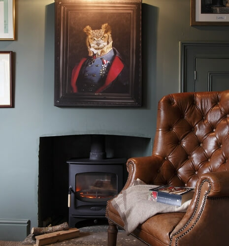 Leather fireside chair in a study
