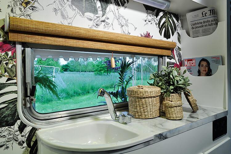 Floral interior of a vintage caravan