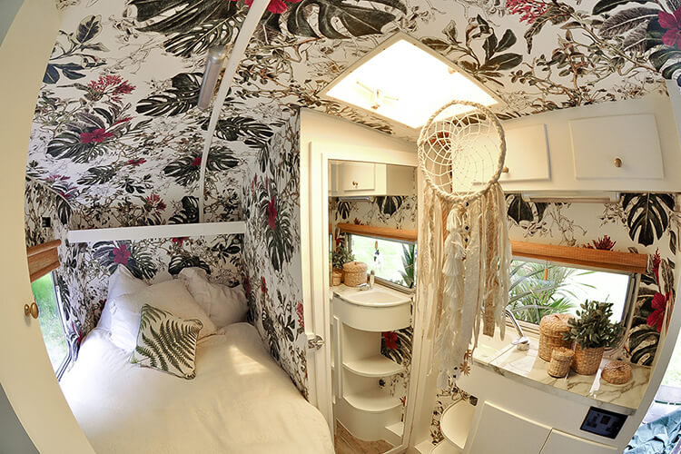 Interior of a renovated vintage caravan