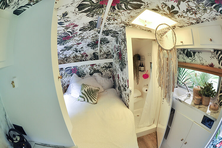 Renovated Caravan Shower and bedroom area
