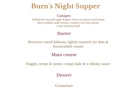Burns night supper menu