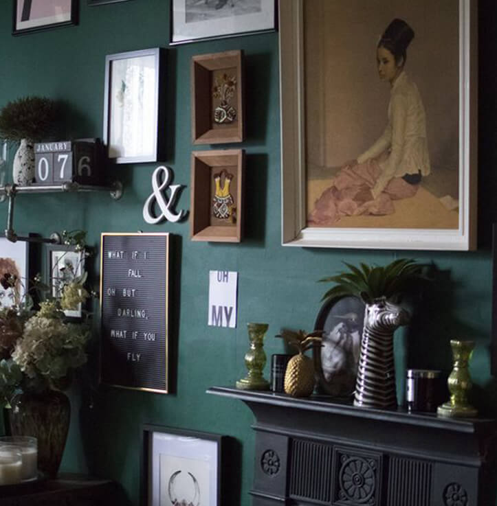 Gallery wall by the girl with the green sofa